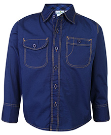 Babyhug Full Sleeves Shirt Navy Blue - Solid Shirt
