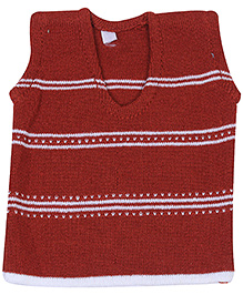 Babyhug Sleeveless Sweater Maroon - Stripes