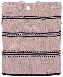 Babyhug Sleeveless Sweater Cream - Stripes