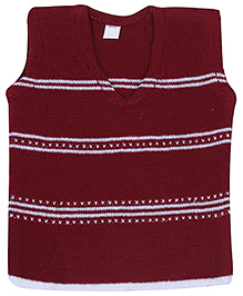 Babyhug Sleeveless Sweater Dark Maroon - Stripes