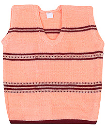 Babyhug Sleeveless Sweater Peach - Stripes