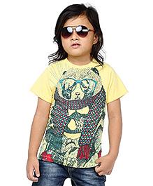 BonOrganik Half Sleeves T-Shirt Printed - Yellow