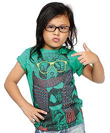 BonOrganik Half Sleeves T-Shirt Printed - Green
