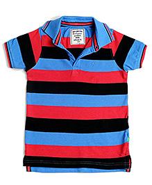 BonOrganik Half Sleeves Polo T-Shirt Multi Colour - Stripes