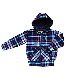 Campana Hooded Sweat Jacket - Checks Pattern
