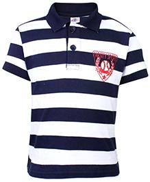 Zero Striped Polo T-Shirt - Varsity Sports Patch