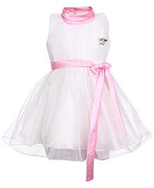 Babyhug Sleeveless Frock - Pink Bow Applique
