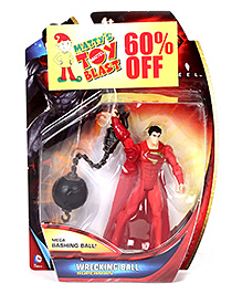 Superman Action Figure With Wrecking Ball - Red And Black