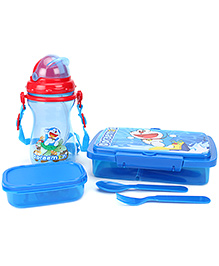Doraemon Combo Set Water Bottle Big And Small Lunch Box With Spoon And Fork