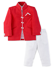 Babyhug Party Coat And Pant Set - Red And White