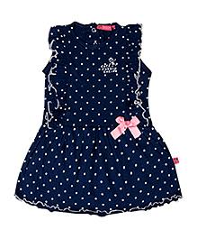 Buzzy Sleeveless Dress Navy Blue - Polka Dot Print