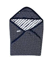 Buzzy Hooded Quilted Wrapper Navy Blue - Stripes