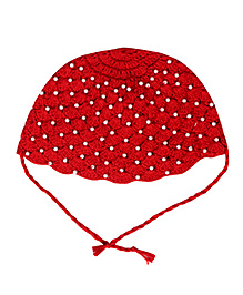 Buzzy Crochet Cap With Knot Closure - Red