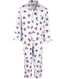 Fido Full Sleeves Night Suit - Number Print