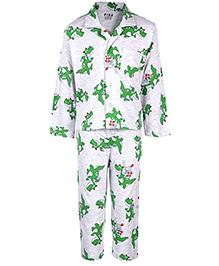 Fido Full Sleeves Night Suit - Dinosaur Print