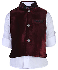 Little Bull Full Sleeves Shirt And Waistcoat Set - Maroon And White