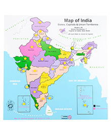 Skillofun Wooden Map Of India - Multicolour