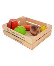 Skillofun Wooden Fruits And Veggies Chopping Set - Multicolour