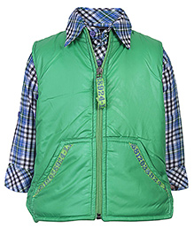Little Kangaroos Full Sleeves Shirt With Jacket - Check Pattern