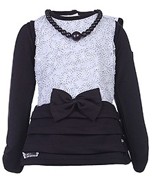 Little Kangaroos Short Frock With Inner Tee And Necklace - Black