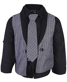 Little Kangaroos Full Sleeves Shirt And Waistcoat With Tie - Black