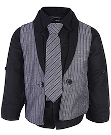 Little Kangaroos Full Sleeves Shirt And Waistcoat With Tie - Black