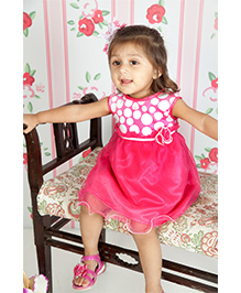 Mini Cupcake Sleeveless Frock Pink - Floral Applique
