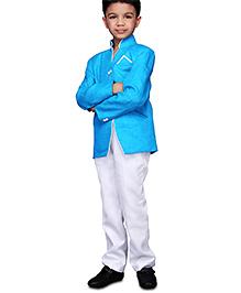 Babyhug Party Coat And Pant Set - Blue And White
