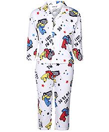 Doreme Full Sleeves Night Suit - White