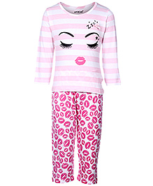Doreme Full Sleeves T-Shirt And Legging - Pink And White