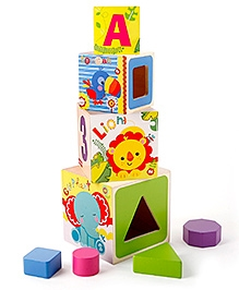 Fisher Price Shape Sorter Stacking Blocks - Wooden Toy
