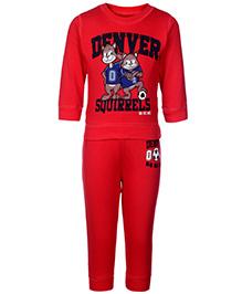 Doreme Full Sleeves T-Shirt And Legging Dark Red - Denver Squirrels Print