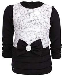 Little Kangaroos Sleeveless Frock With Inner T-Shirt - Black