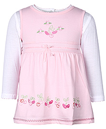 Doreme Sleeveless Frock With Inner Tee Pink - Floral Embroidery