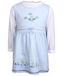 Doreme Sleeveless Frock With Inner Tee Blue - Floral Embroidery