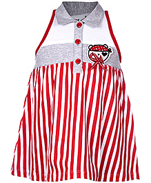 Doreme Sleeveless Collar Neck Frock Red - Stripes Print