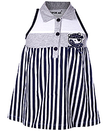 Doreme Sleeveless Collar Neck Frock Navy Blue - Stripes Print