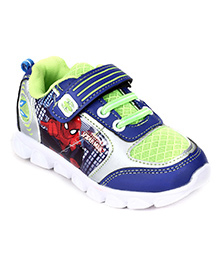 Spiderman Sport Shoes Lace Up With Velcro Closure - Green And Blue