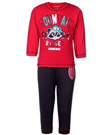 Doreme Full Sleeves T-Shirt And Legging Red - Mountain Ranger Print