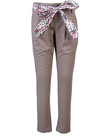 Palm Tree Trouser With Tie Up Belt - Solid Colour