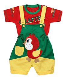 Babyhug Dungaree With Half Sleeves T-Shirt - Bird Patch
