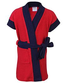Babyhug Half Sleeves Bathrobe - Red And Navy