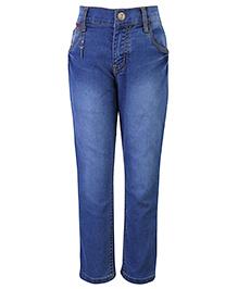 Palm Tree Stone Wash Jeans - Blue