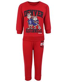 Doreme Full Sleeves T-Shirt And Legging Red - Denver Squirrels Print