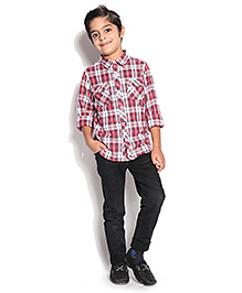 ShopperTree Full Sleeves Check Shirt - Red And Navy