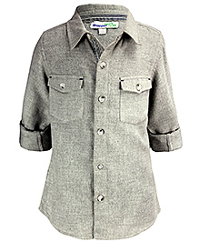 ShopperTree Full Sleeves Grey Shirt - Front Flap Pockets