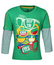 Babyhug Doctor Sleeves T-Shirt - Sunglasses Print - 0 To 6 Months