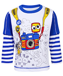 Babyhug Doctor Sleeves T-Shirt - Happy Camera Print