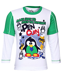 Babyhug Doctor Sleeves T-Shirt - Penguin Print - 0 To 6 Months
