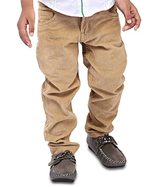 Babyhug Full Length Corduroy Trouser  - Beige